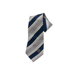 Rotary tie in blue/beige